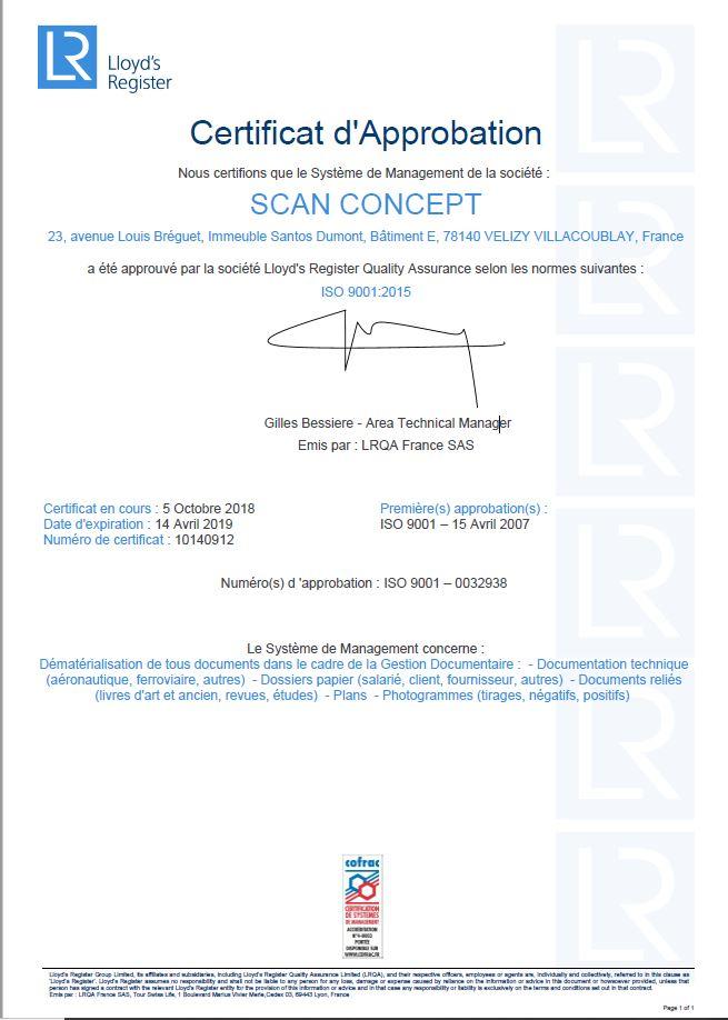 Certificat ISO 9001-2015 Numérisation Dématérialisation