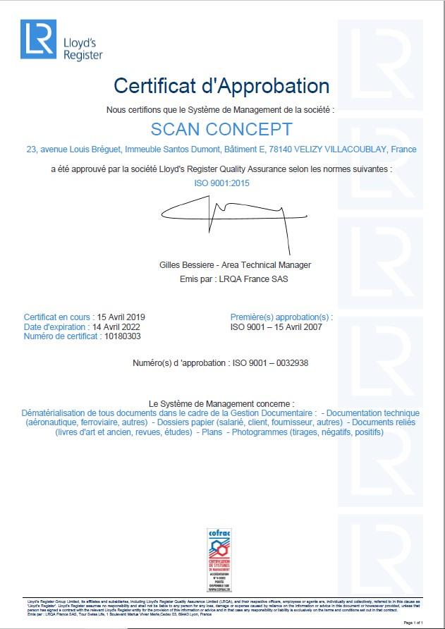 Certificat ISO9001 2015 Scan Concept